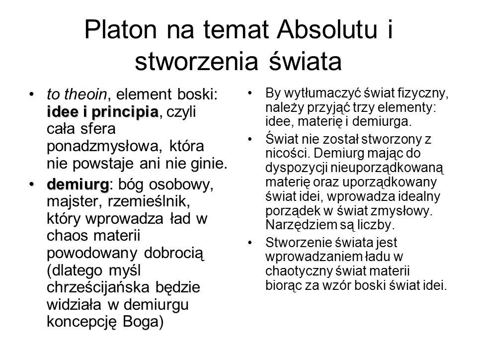 Platon na temat Absolutu i stworzenia świata idee i principiato theoin, element boski: idee i principia, czyli cała sfera ponadzmysłowa, która nie pow
