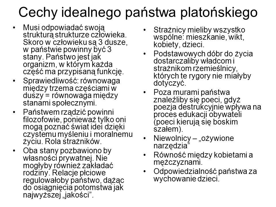 Cechy idealnego państwa platońskiego Musi odpowiadać swoją strukturą strukturze człowieka. Skoro w człowieku są 3 dusze, w państwie powinny być 3 stan