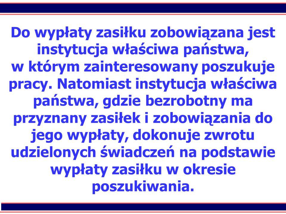 30 Do wypłaty zasiłku zobowiązana jest instytucja właściwa państwa, w którym zainteresowany poszukuje pracy. Natomiast instytucja właściwa państwa, gd