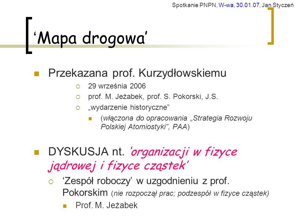 ' Mapa drogowa' Przekazana prof.Kurzydłowskiemu  29 września 2006  prof.