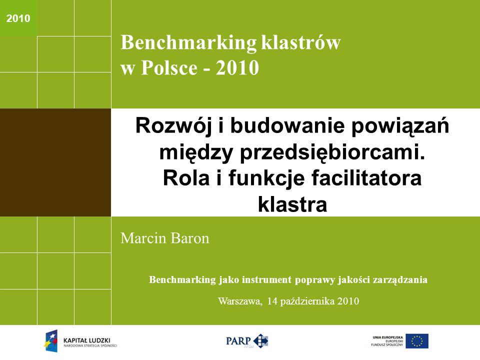 2010 Benchmarking klastrów w Polsce - 2010 Marcin Baron Benchmarking jako instrument poprawy jakości zarządzania Warszawa, 14 października 2010 Rozwój i budowanie powiązań między przedsiębiorcami.