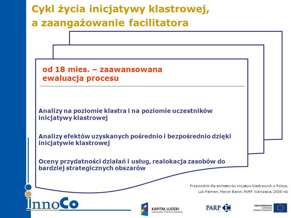 Analizy na poziomie klastra i na poziomie uczestników inicjatywy klastrowej Analizy efektów uzyskanych pośrednio i bezpośrednio dzięki inicjatywie klastrowej Oceny przydatności działań i usług, realokacja zasobów do bardziej strategicznych obszarów od 18 mies.
