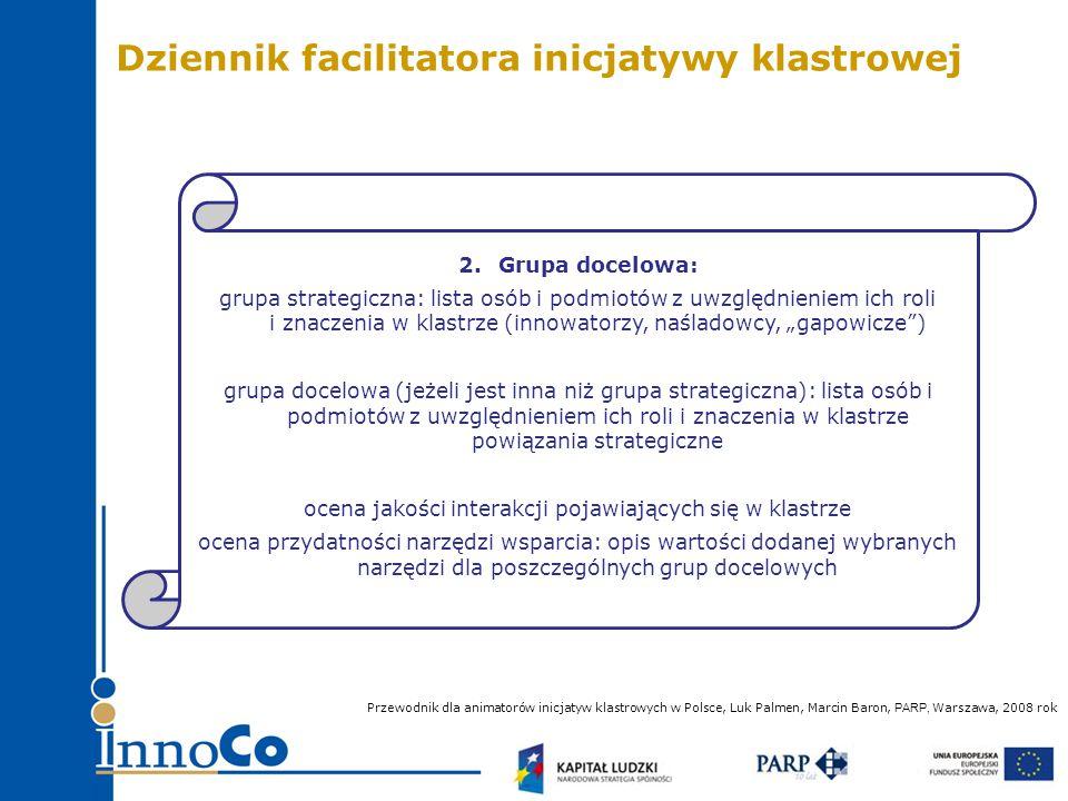 """2.Grupa docelowa: grupa strategiczna: lista osób i podmiotów z uwzględnieniem ich roli i znaczenia w klastrze (innowatorzy, naśladowcy, """"gapowicze ) grupa docelowa (jeżeli jest inna niż grupa strategiczna): lista osób i podmiotów z uwzględnieniem ich roli i znaczenia w klastrze powiązania strategiczne ocena jakości interakcji pojawiających się w klastrze ocena przydatności narzędzi wsparcia: opis wartości dodanej wybranych narzędzi dla poszczególnych grup docelowych Przewodnik dla animatorów inicjatyw klastrowych w Polsce, Luk Palmen, Marcin Baron, PARP, Warszawa, 2008 rok Dziennik facilitatora inicjatywy klastrowej"""
