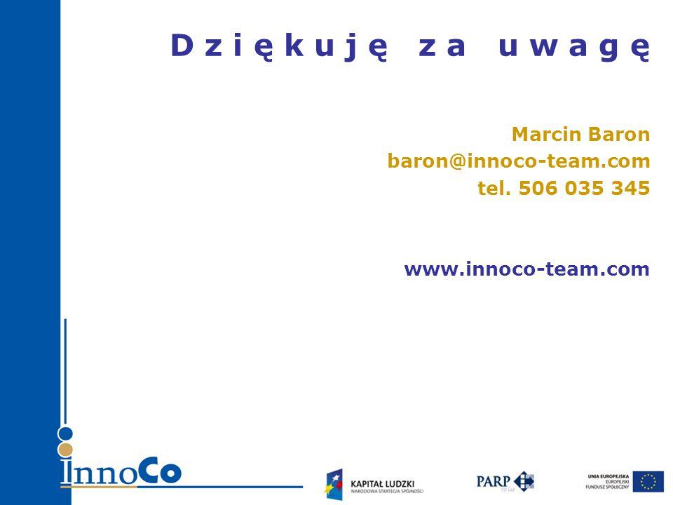 D z i ę k u j ę z a u w a g ę Marcin Baron baron@innoco-team.com tel.