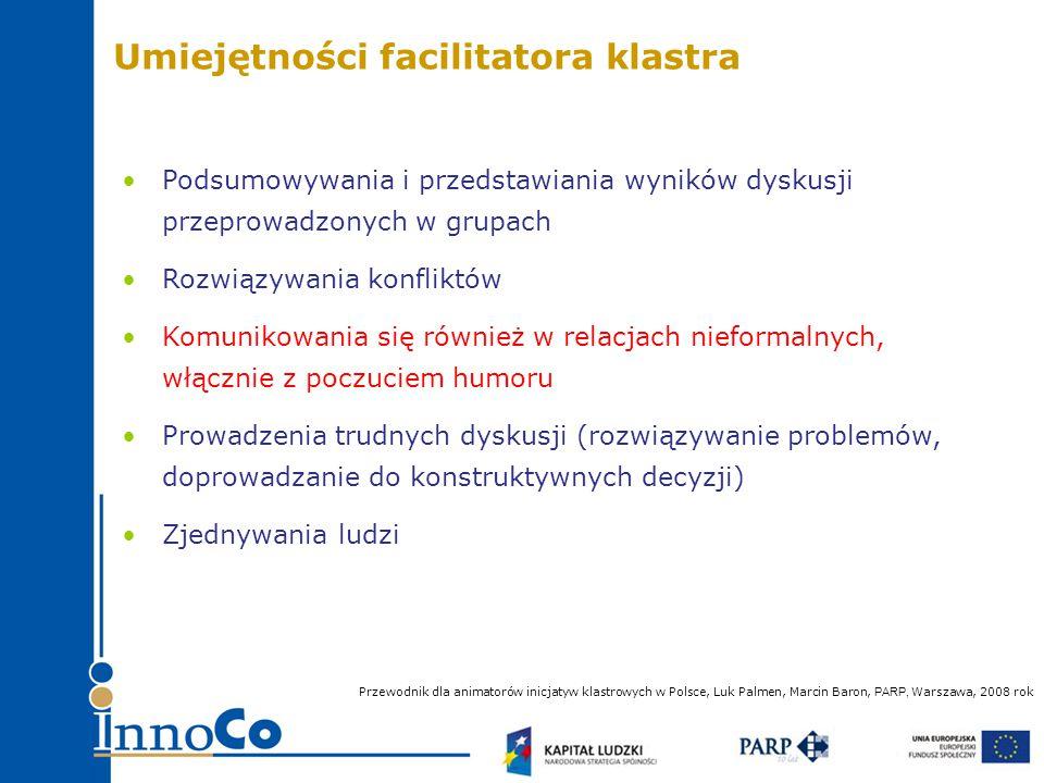 Podsumowywania i przedstawiania wyników dyskusji przeprowadzonych w grupach Rozwiązywania konfliktów Komunikowania się również w relacjach nieformalnych, włącznie z poczuciem humoru Prowadzenia trudnych dyskusji (rozwiązywanie problemów, doprowadzanie do konstruktywnych decyzji) Zjednywania ludzi Przewodnik dla animatorów inicjatyw klastrowych w Polsce, Luk Palmen, Marcin Baron, PARP, Warszawa, 2008 rok Umiejętności facilitatora klastra