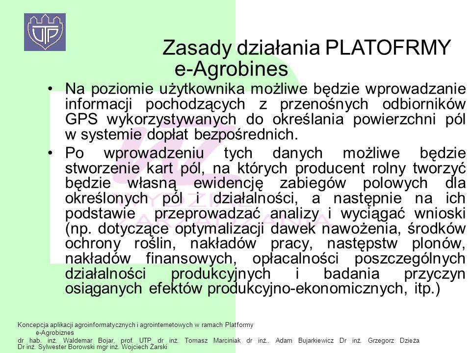 Koncepcja aplikacji agroinformatycznych i agrointernetowych w ramach Platformy e-Agrobiznes dr hab. inż. Waldemar Bojar, prof. UTP dr inż. Tomasz Marc