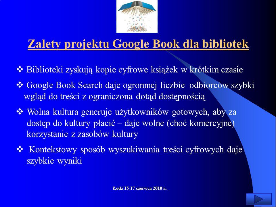 Łódź 15-17 czerwca 2010 r.  Jeśli Google wejdzie mocno ze swoją ofertą, bibliotekarzom coraz trudniej będzie pozyskiwać fundusze na tworzenie własnyc