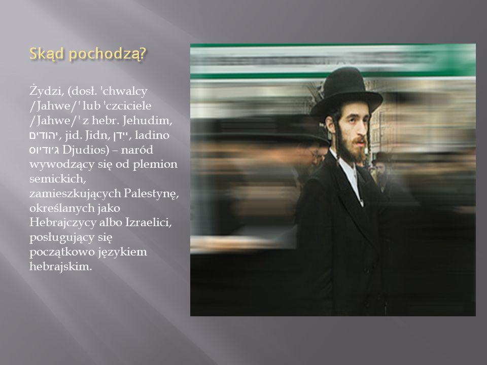 Żydzi, (dosł. chwalcy /Jahwe/ lub czciciele /Jahwe/ z hebr.