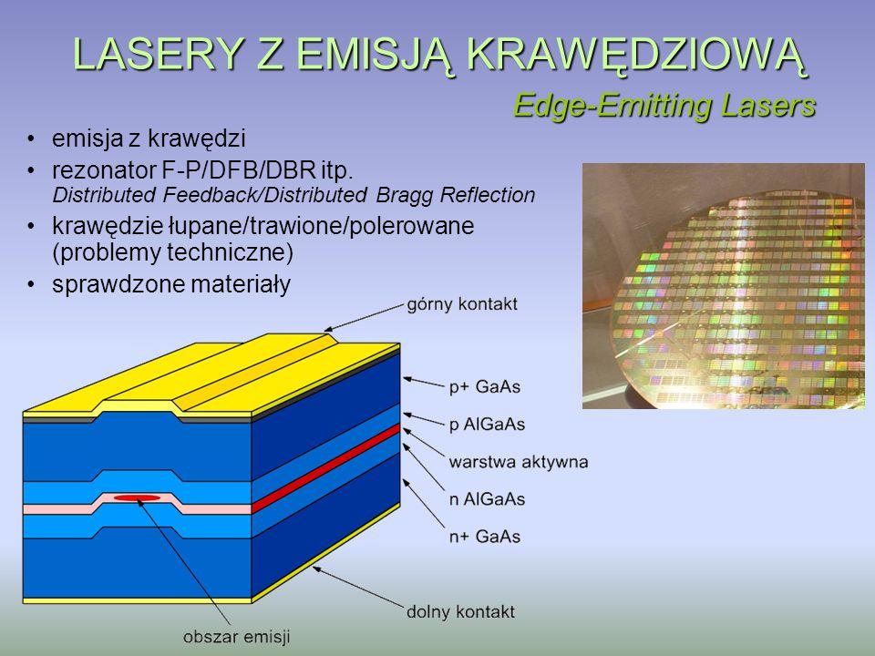 LASERY Z EMISJĄ KRAWĘDZIOWĄ emisja z krawędzi rezonator F-P/DFB/DBR itp. Distributed Feedback/Distributed Bragg Reflection krawędzie łupane/trawione/p