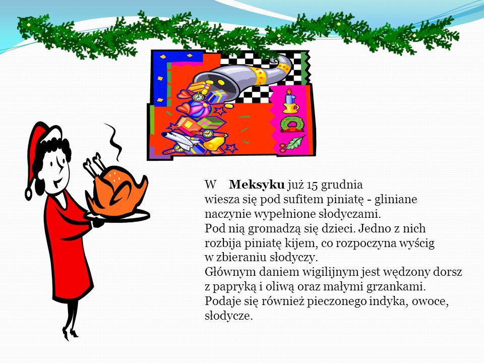 W Danii na Wigilię podaje się słodki ryż z cynamonem i pieczoną gęś z jabłkami. Tradycyjnym daniem jest budyń z ryżem, w którym gospodyni ukrywa migda