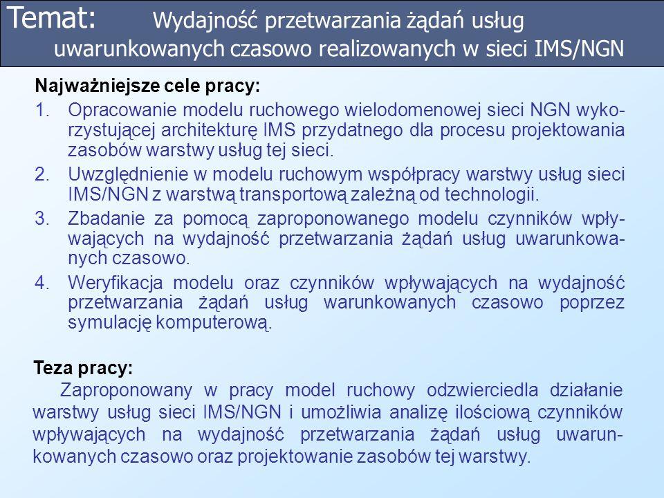 Temat: Wydajność przetwarzania żądań usług uwarunkowanych czasowo realizowanych w sieci IMS/NGN Teza pracy: Zaproponowany w pracy model ruchowy odzwie