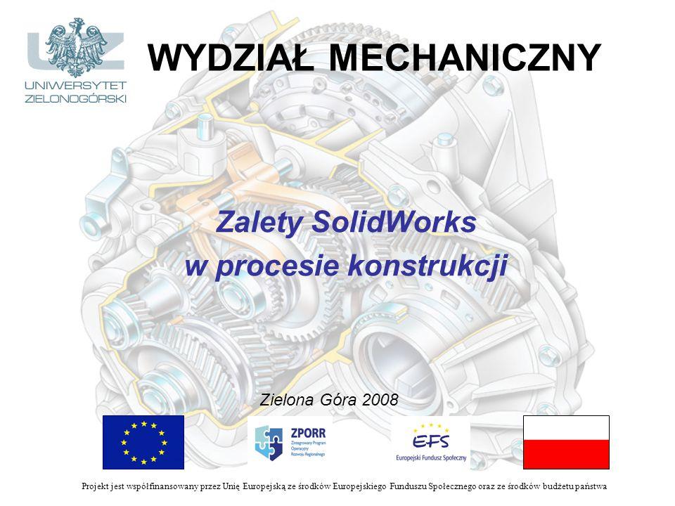 WYDZIAŁ MECHANICZNY Zalety SolidWorks w procesie konstrukcji Zielona Góra 2008 Projekt jest współfinansowany przez Unię Europejską ze środków Europejskiego Funduszu Społecznego oraz ze środków budżetu państwa