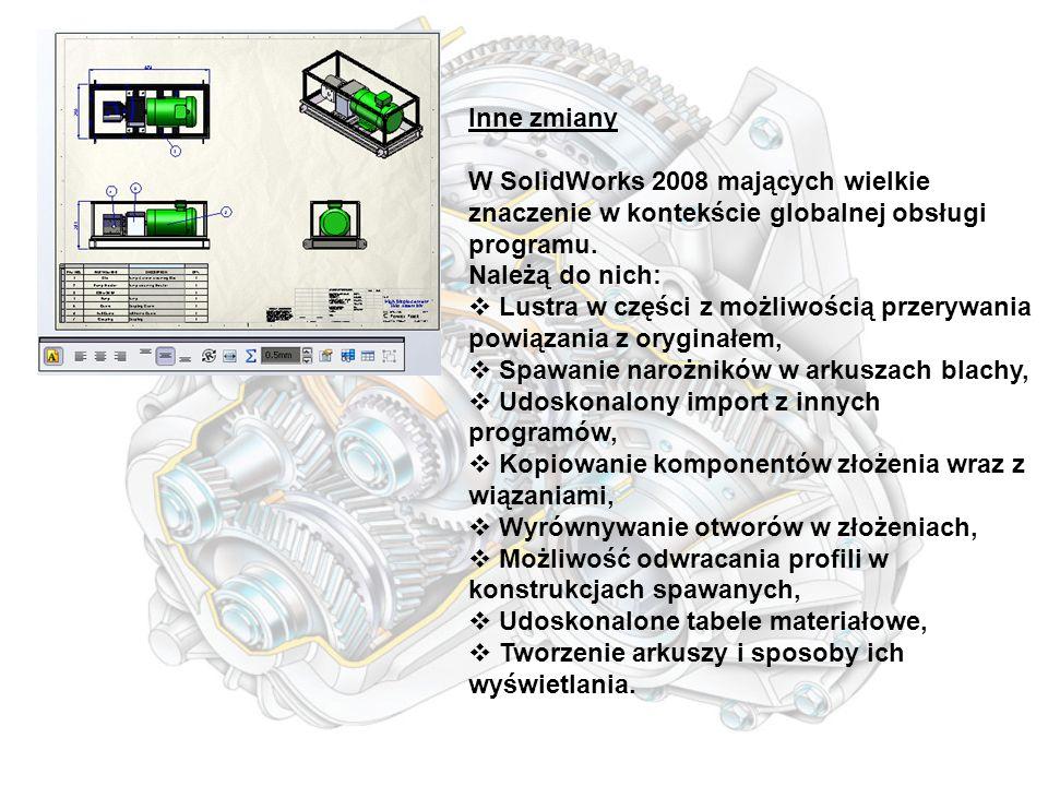 Inne zmiany W SolidWorks 2008 mających wielkie znaczenie w kontekście globalnej obsługi programu.