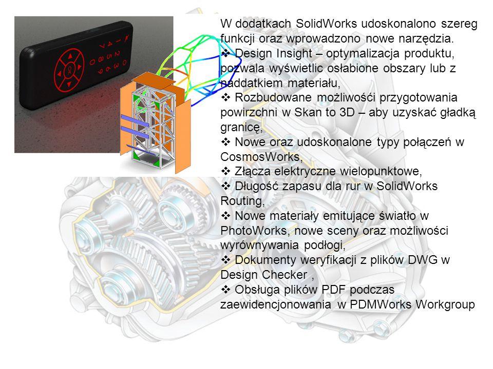 W dodatkach SolidWorks udoskonalono szereg funkcji oraz wprowadzono nowe narzędzia.