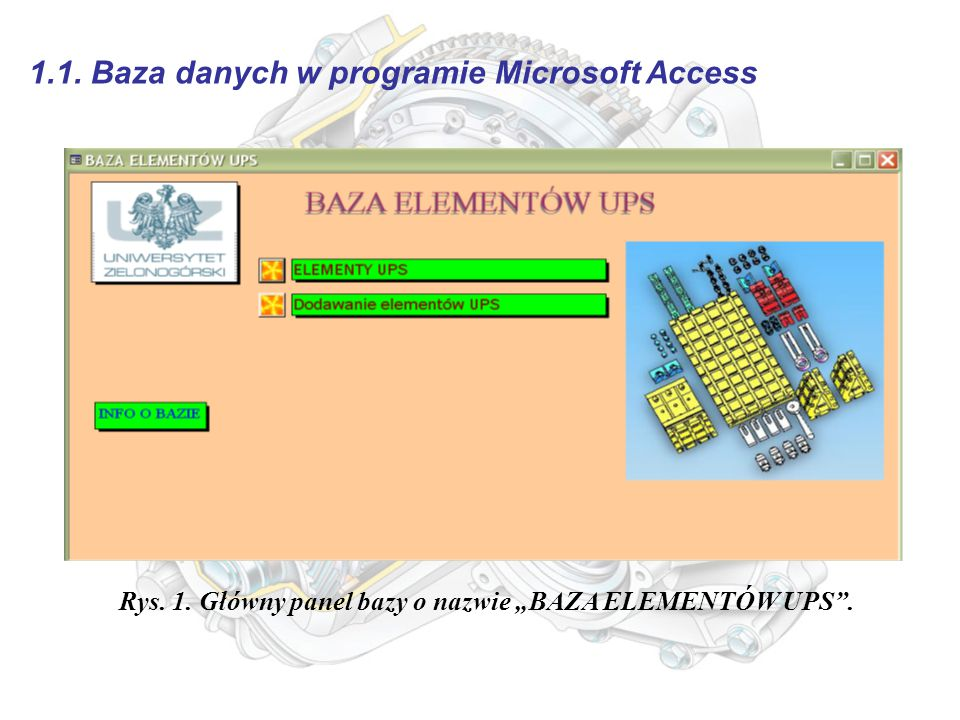 1.1. Baza danych w programie Microsoft Access Rys.