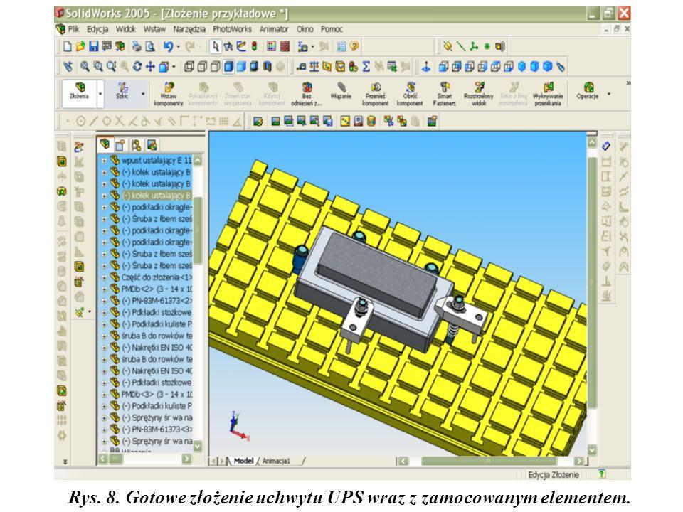 Rys. 8. Gotowe złożenie uchwytu UPS wraz z zamocowanym elementem.