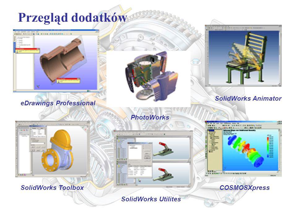 Przegląd dodatków eDrawings Professional PhotoWorks SolidWorks Animator SolidWorks Toolbox SolidWorks Utilites COSMOSXpress