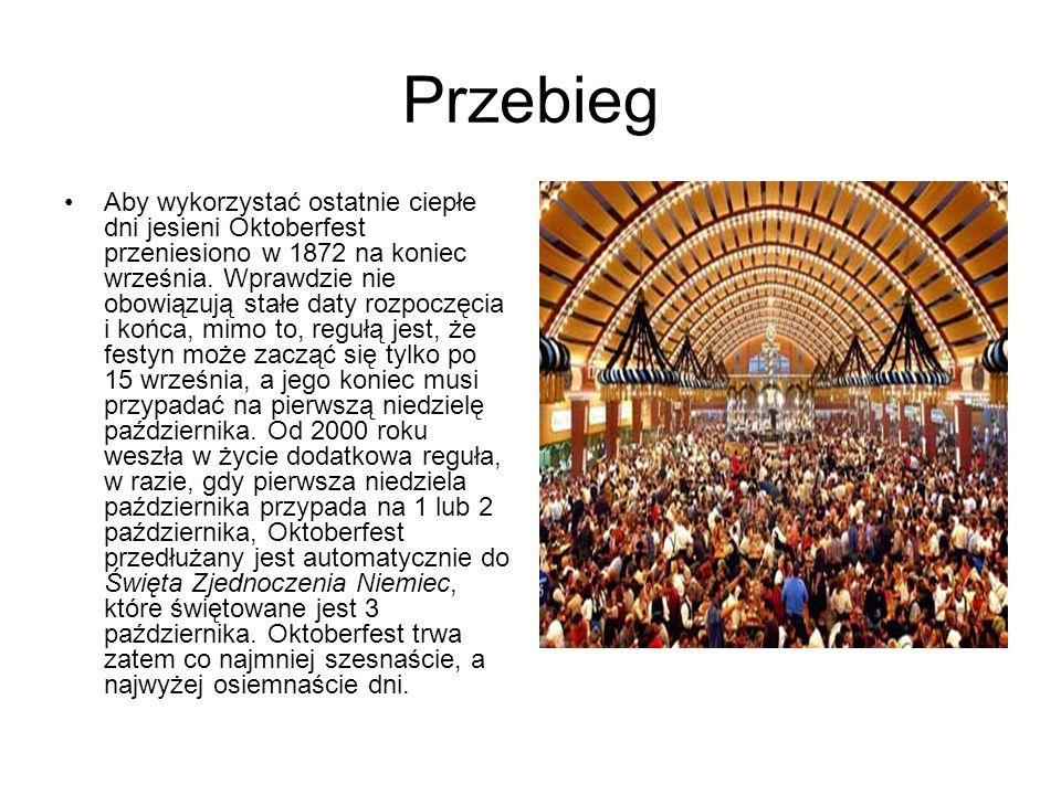 Przebieg Aby wykorzystać ostatnie ciepłe dni jesieni Oktoberfest przeniesiono w 1872 na koniec września. Wprawdzie nie obowiązują stałe daty rozpoczęc