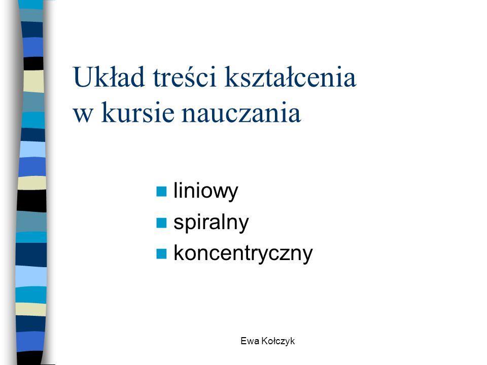 Ewa Kołczyk Układ treści kształcenia w kursie nauczania liniowy spiralny koncentryczny