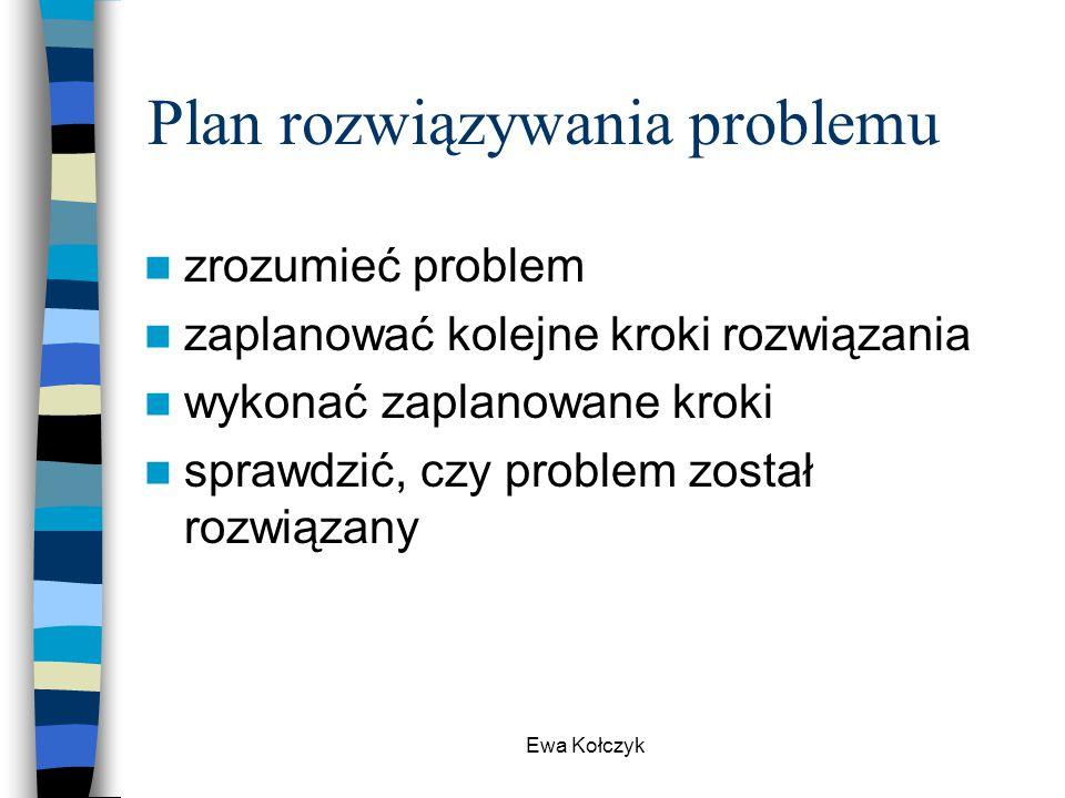 Ewa Kołczyk Plan rozwiązywania problemu zrozumieć problem zaplanować kolejne kroki rozwiązania wykonać zaplanowane kroki sprawdzić, czy problem został