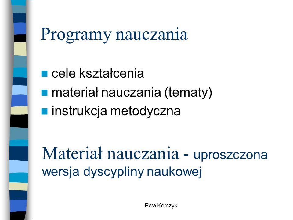 Ewa Kołczyk Programy nauczania cele kształcenia materiał nauczania (tematy) instrukcja metodyczna Materiał nauczania - uproszczona wersja dyscypliny n
