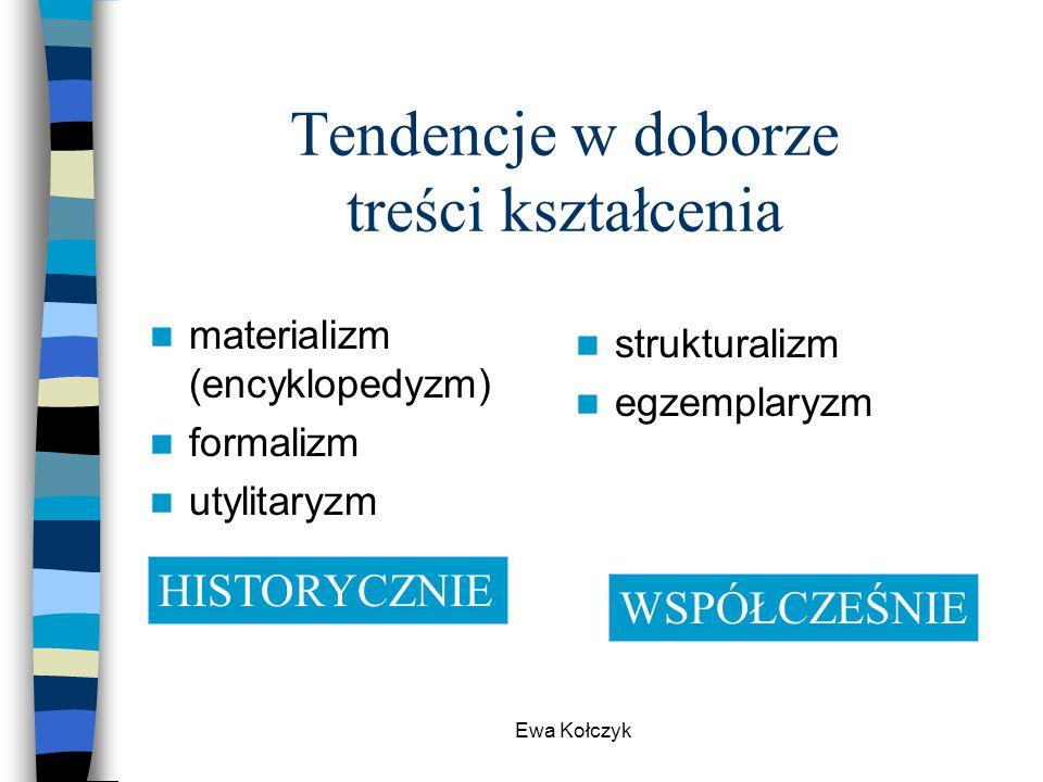 Ewa Kołczyk Tendencje w doborze treści kształcenia materializm (encyklopedyzm) formalizm utylitaryzm strukturalizm egzemplaryzm HISTORYCZNIE WSPÓŁCZEŚ