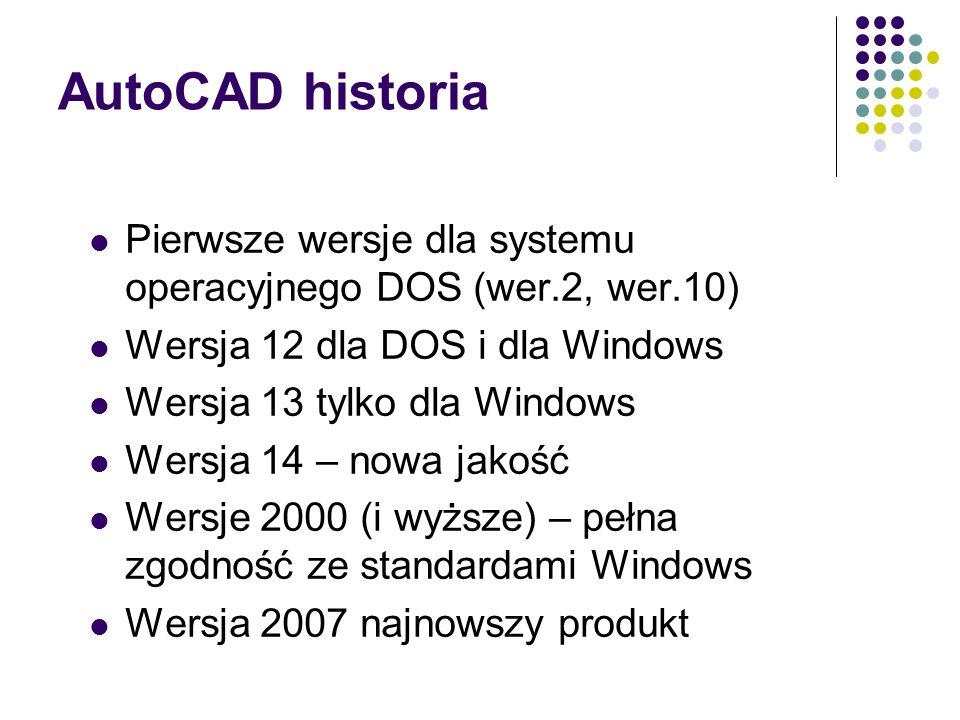 AutoCAD historia Pierwsze wersje dla systemu operacyjnego DOS (wer.2, wer.10) Wersja 12 dla DOS i dla Windows Wersja 13 tylko dla Windows Wersja 14 – nowa jakość Wersje 2000 (i wyższe) – pełna zgodność ze standardami Windows Wersja 2007 najnowszy produkt
