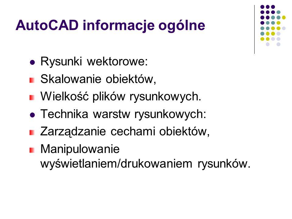 AutoCAD informacje ogólne Rysunki wektorowe: Skalowanie obiektów, Wielkość plików rysunkowych.
