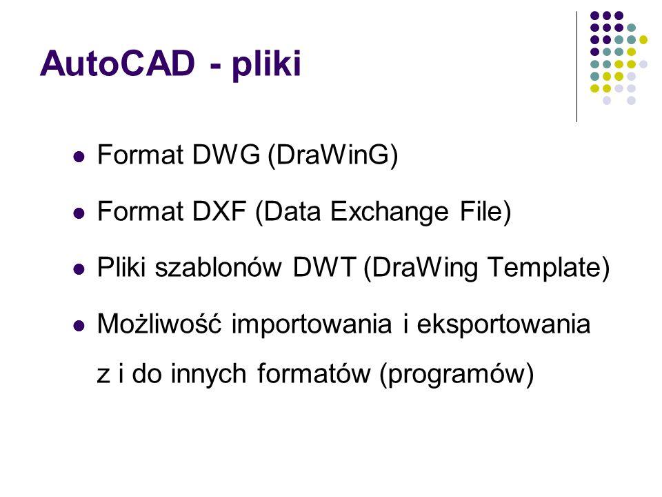 AutoCAD - pliki Format DWG (DraWinG) Format DXF (Data Exchange File) Pliki szablonów DWT (DraWing Template) Możliwość importowania i eksportowania z i do innych formatów (programów)