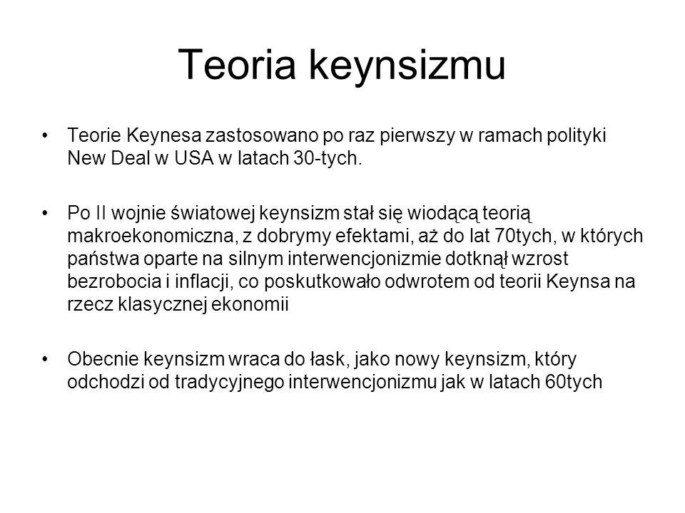 Teoria keynsizmu Teorie Keynesa zastosowano po raz pierwszy w ramach polityki New Deal w USA w latach 30-tych. Po II wojnie światowej keynsizm stał si