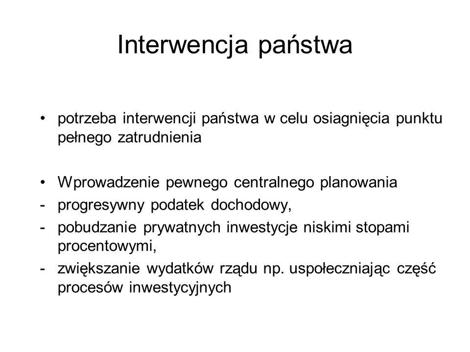 Interwencja państwa potrzeba interwencji państwa w celu osiagnięcia punktu pełnego zatrudnienia Wprowadzenie pewnego centralnego planowania -progresyw