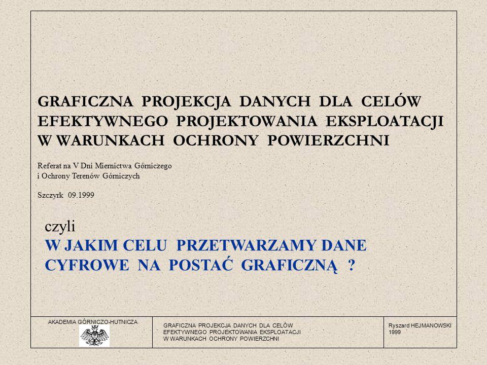 AKADEMIA GÓRNICZO-HUTNICZA Ryszard HEJMANOWSKI 1999 GRAFICZNA PROJEKCJA DANYCH DLA CELÓW EFEKTYWNEGO PROJEKTOWANIA EKSPLOATACJI W WARUNKACH OCHRONY POWIERZCHNI GRAFICZNA PROJEKCJA DANYCH DLA CELÓW EFEKTYWNEGO PROJEKTOWANIA EKSPLOATACJI W WARUNKACH OCHRONY POWIERZCHNI Referat na V Dni Miernictwa Górniczego i Ochrony Terenów Górniczych Szczyrk 09.1999 czyli W JAKIM CELU PRZETWARZAMY DANE CYFROWE NA POSTAĆ GRAFICZNĄ