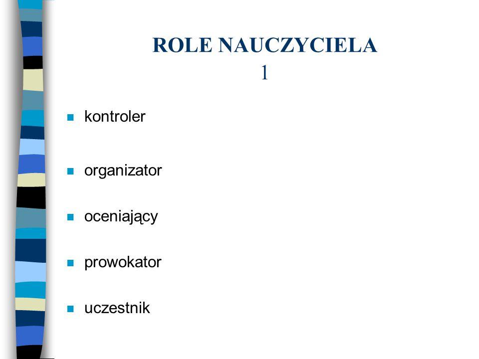 ROLE NAUCZYCIELA 1 n kontroler n organizator n oceniający n prowokator n uczestnik