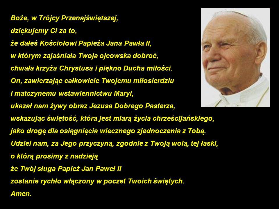 84 Boże, w Trójcy Przenajświętszej, dziękujemy Ci za to, że dałeś Kościołowi Papieża Jana Pawła II, w którym zajaśniała Twoja ojcowska dobroć, chwała