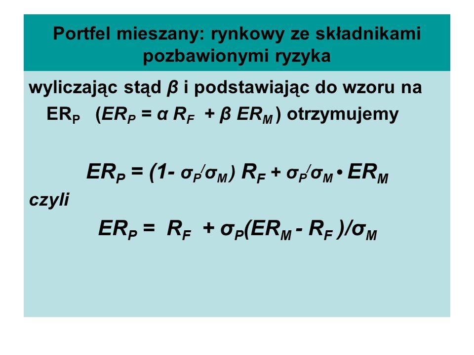 Portfel mieszany: rynkowy ze składnikami pozbawionymi ryzyka wyliczając stąd β i podstawiając do wzoru na ER P (ER P = α R F + β ER M ) otrzymujemy ER P = (1- σ P / σ M ) R F + σ P / σ M ER M czyli ER P = R F + σ P (ER M - R F )/σ M