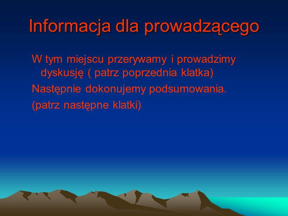 Informacja dla prowadzącego W tym miejscu przerywamy i prowadzimy dyskusję ( patrz poprzednia klatka) Następnie dokonujemy podsumowania. (patrz następ