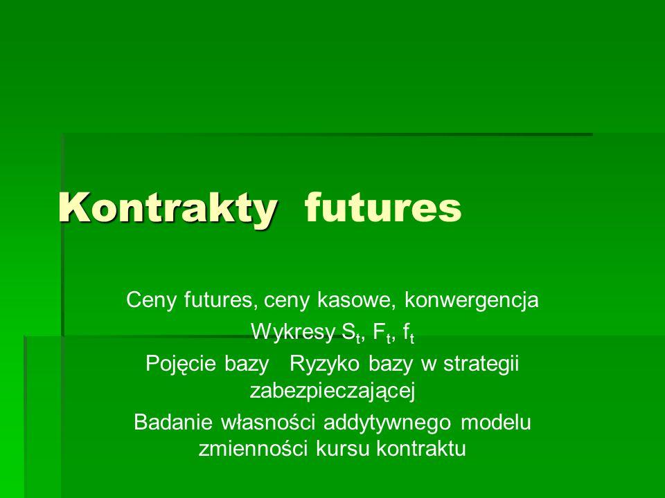 Kontrakty Kontrakty futures Ceny futures, ceny kasowe, konwergencja Wykresy S t, F t, f t Pojęcie bazy Ryzyko bazy w strategii zabezpieczającej Badanie własności addytywnego modelu zmienności kursu kontraktu