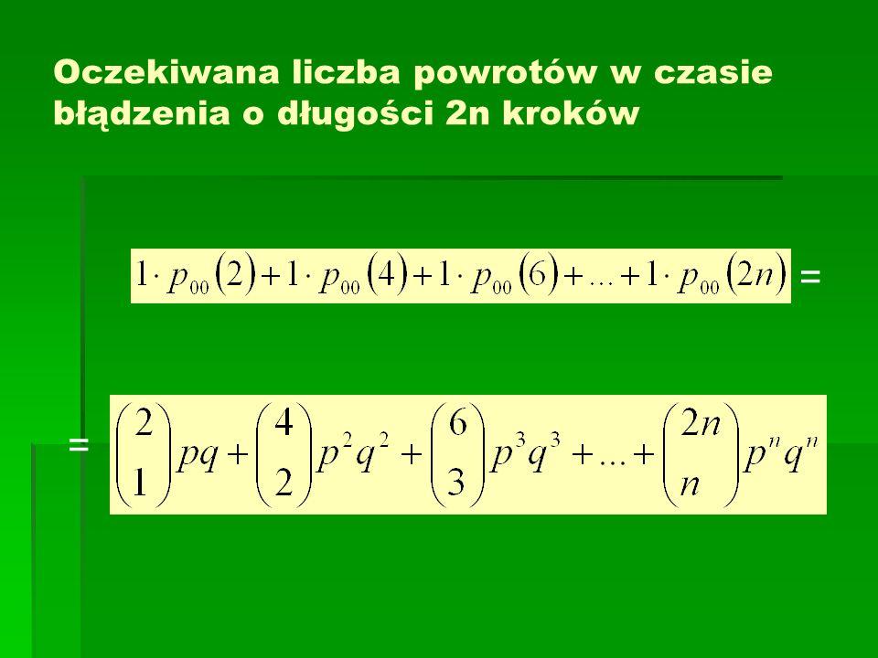 Oczekiwana liczba powrotów w czasie błądzenia o długości 2n kroków = =