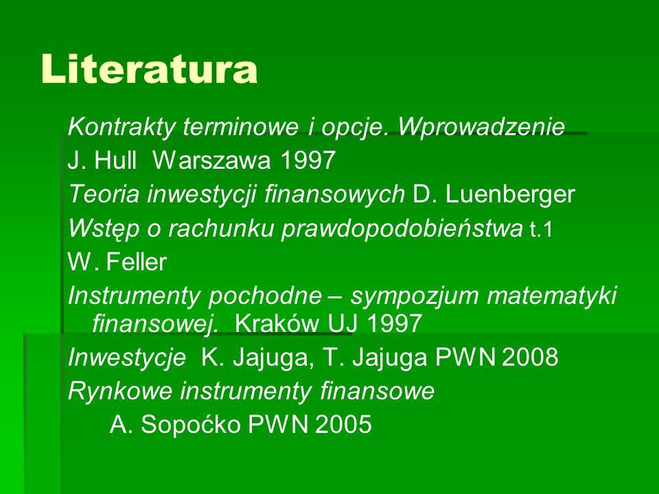 Literatura Kontrakty terminowe i opcje. Wprowadzenie J. Hull Warszawa 1997 Teoria inwestycji finansowych D. Luenberger Wstęp o rachunku prawdopodobień
