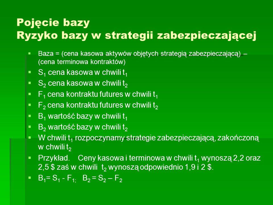 Pojęcie bazy Ryzyko bazy w strategii zabezpieczającej   Baza = (cena kasowa aktywów objętych strategią zabezpieczającą) – (cena terminowa kontraktów)   S 1 cena kasowa w chwili t 1   S 2 cena kasowa w chwili t 2   F 1 cena kontraktu futures w chwili t 1   F 2 cena kontraktu futures w chwili t 2   B 1 wartość bazy w chwili t 1   B 2 wartość bazy w chwili t 2   W chwili t 1 rozpoczynamy strategie zabezpieczającą, zakończoną w chwili t 2   Przykład.