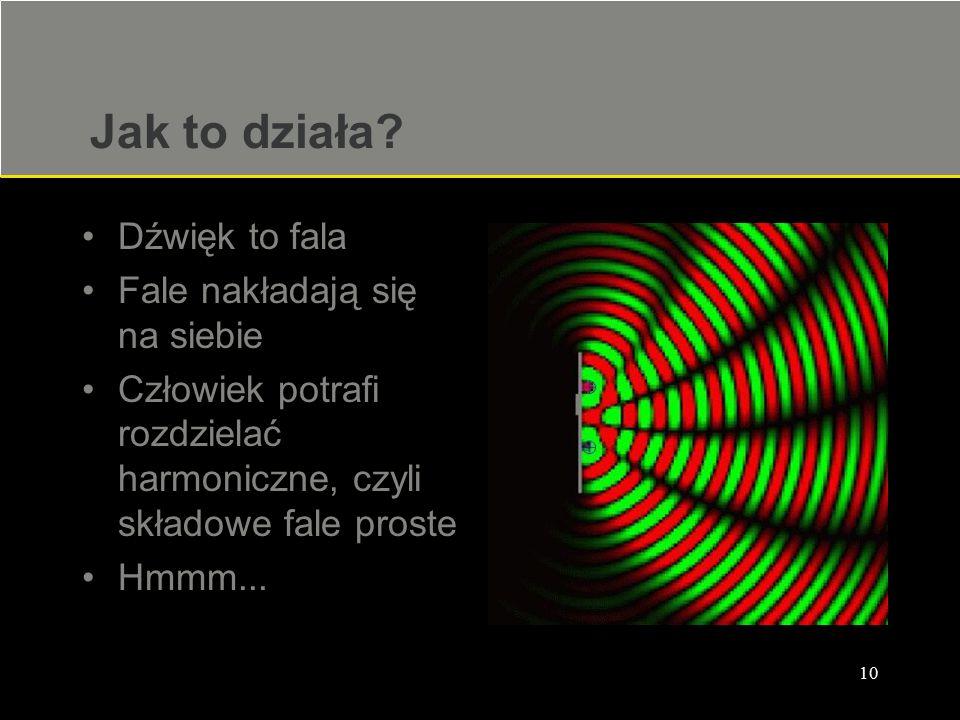 10 Jak to działa? Dźwięk to fala Fale nakładają się na siebie Człowiek potrafi rozdzielać harmoniczne, czyli składowe fale proste Hmmm...