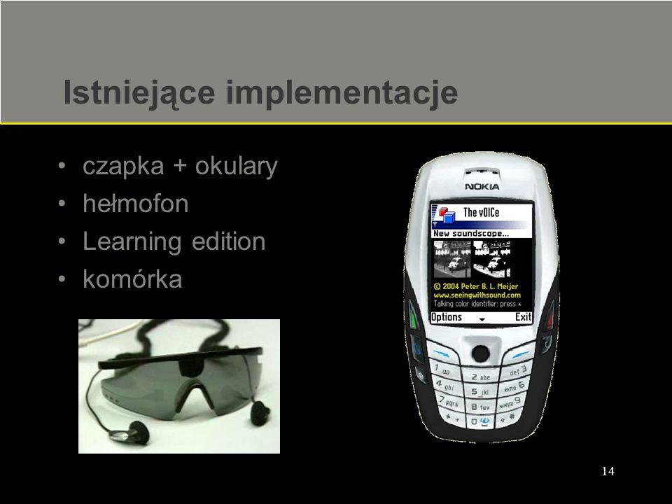 14 Istniejące implementacje czapka + okulary hełmofon Learning edition komórka