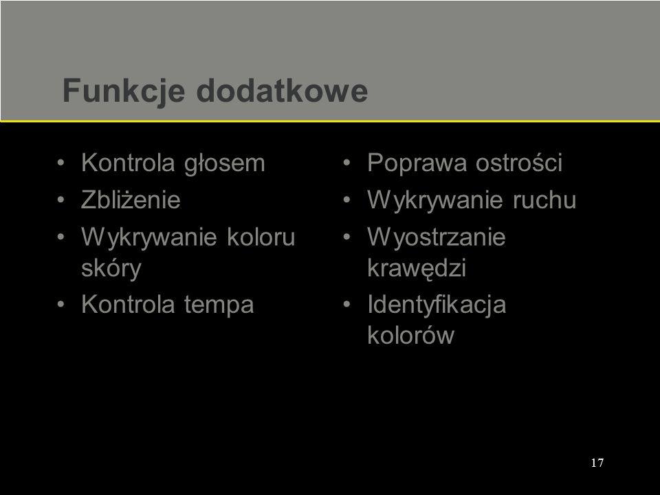 17 Funkcje dodatkowe Kontrola głosem Zbliżenie Wykrywanie koloru skóry Kontrola tempa Poprawa ostrości Wykrywanie ruchu Wyostrzanie krawędzi Identyfik
