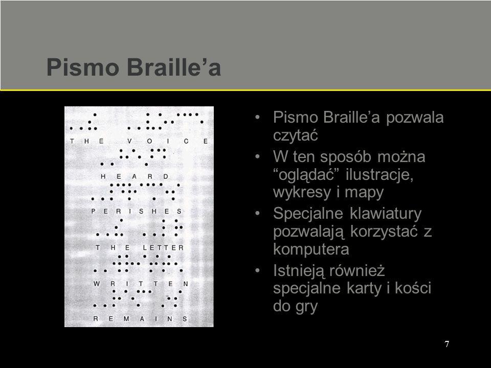 """7 Pismo Braille'a Pismo Braille'a pozwala czytać W ten sposób można """"oglądać"""" ilustracje, wykresy i mapy Specjalne klawiatury pozwalają korzystać z ko"""