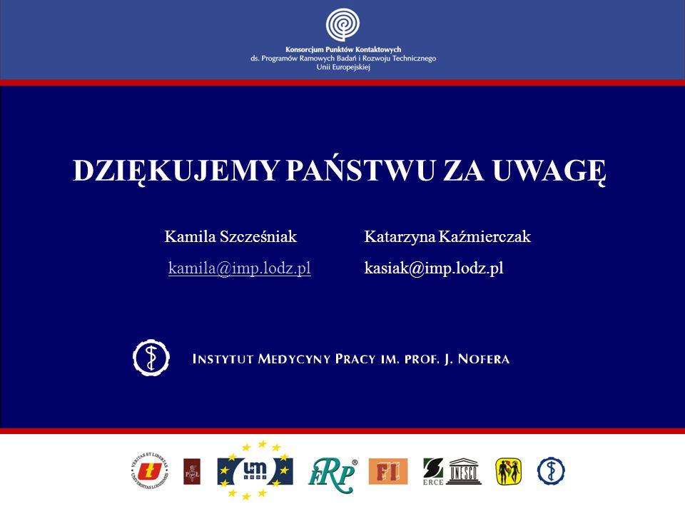 DZIĘKUJEMY PAŃSTWU ZA UWAGĘ Kamila Szcześniak Katarzyna Kaźmierczak kamila@imp.lodz.pl kasiak@imp.lodz.plkamila@imp.lodz.pl