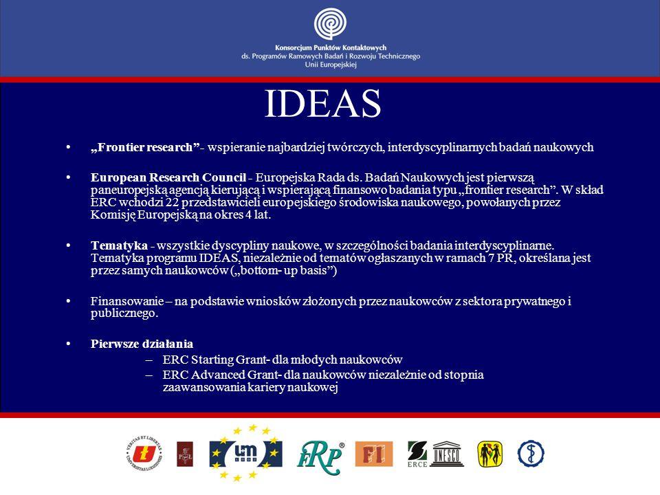 """IDEAS """"Frontier research""""- wspieranie najbardziej twórczych, interdyscyplinarnych badań naukowych European Research Council - Europejska Rada ds. Bada"""
