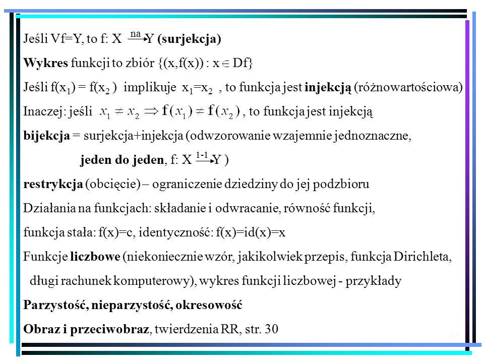 38 Jeśli Vf=Y, to f: X Y (surjekcja) Wykres funkcji to zbiór {(x,f(x)) : x Df} Jeśli f(x 1 ) = f(x 2 ) implikuje x 1 =x 2, to funkcja jest injekcją (różnowartościowa) Inaczej: jeśli, to funkcja jest injekcją bijekcja = surjekcja+injekcja (odwzorowanie wzajemnie jednoznaczne, jeden do jeden, f: X Y ) restrykcja (obcięcie) – ograniczenie dziedziny do jej podzbioru Działania na funkcjach: składanie i odwracanie, równość funkcji, funkcja stała: f(x)=c, identyczność: f(x)=id(x)=x Funkcje liczbowe (niekoniecznie wzór, jakikolwiek przepis, funkcja Dirichleta, długi rachunek komputerowy), wykres funkcji liczbowej - przykłady Parzystość, nieparzystość, okresowość Obraz i przeciwobraz, twierdzenia RR, str.