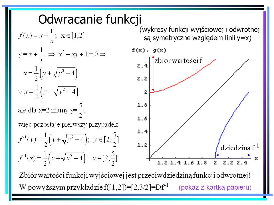 40 Odwracanie funkcji (wykresy funkcji wyjściowej i odwrotnej są symetryczne względem linii y=x) Zbiór wartości funkcji wyjściowej jest przeciwdziedziną funkcji odwrotnej.