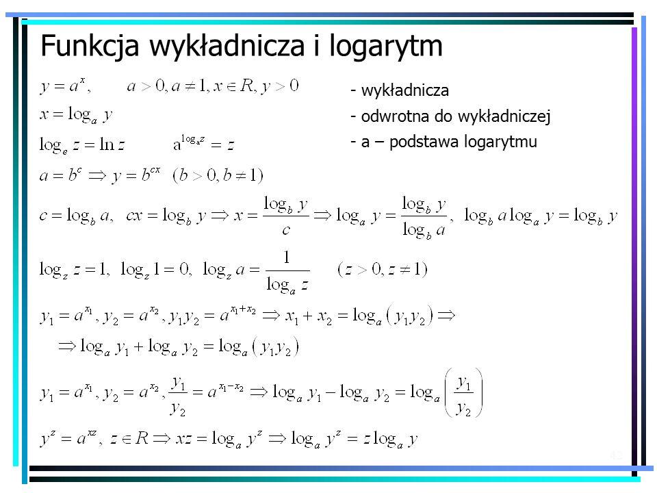 42 Funkcja wykładnicza i logarytm - wykładnicza - odwrotna do wykładniczej - a – podstawa logarytmu