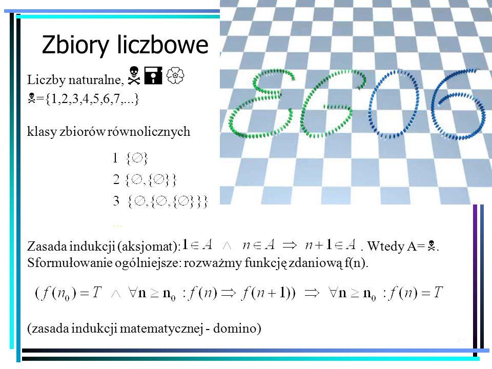45 Zbiory liczbowe Liczby naturalne, N={ N ={1,2,3,4,5,6,7,...} klasy zbiorów równolicznych Zasada indukcji (aksjomat):.